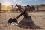 Обои Девушка на ранчо с собакой