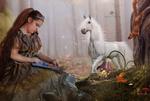 Обои Лесная фея, белочка и белая лошадь