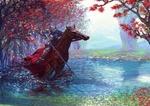 Обои Рыцарь на коне с пикой переезжает ручей в осеннем лесу
