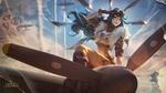 Обои Длинноволосая девушка Irelia в костюме пилота сидит на носу самолета, персонаж из игры Лига Легенд / League of Legends