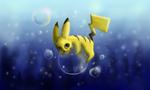 Обои Pikachu / Пикачу из аниме Pokemon / Покемон на пузыре под водой, by xtwistedxamayax