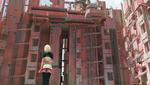 Обои Белокурая девушка стоит и смотрит на завод, by jinglin Xu