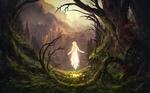 Обои Парящая над землей девушка в лесу