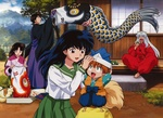Обои Kagome Higurashi, Shippu, Miroku, Sengo и демон Inuyasha сидящий на веранде из аниме Инуяша / InuYasha, by Rumiko Takahashi