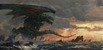 Обои Дракон сидит на подводных скалах у берега моря, by Greg Rutkowski