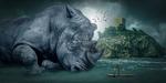 Обои Громадный носорог, девушка на пироге и остров с замковой башней на заднем плане, цифровая фантазия, by Jan Rye Kristensen