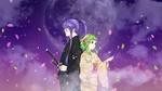 Обои Vocaloids / вокалоиды Kamui Gakupo / Камуи Гакупо и Gumi Megpoid стоят спина к спине на фоне неба