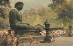 Обои Японки с детьми отдыхают около большой статуи Будды в Киото в солнечный день, by Erikh Kips