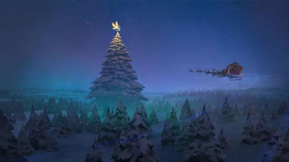 Конкурсная работа Санта-Клаус / Santa Claus летящий в санях, запряженной оленями, в ночном небе на фоне огромной новогодней ели с украшенной верхушкой, by Atomhawk Design