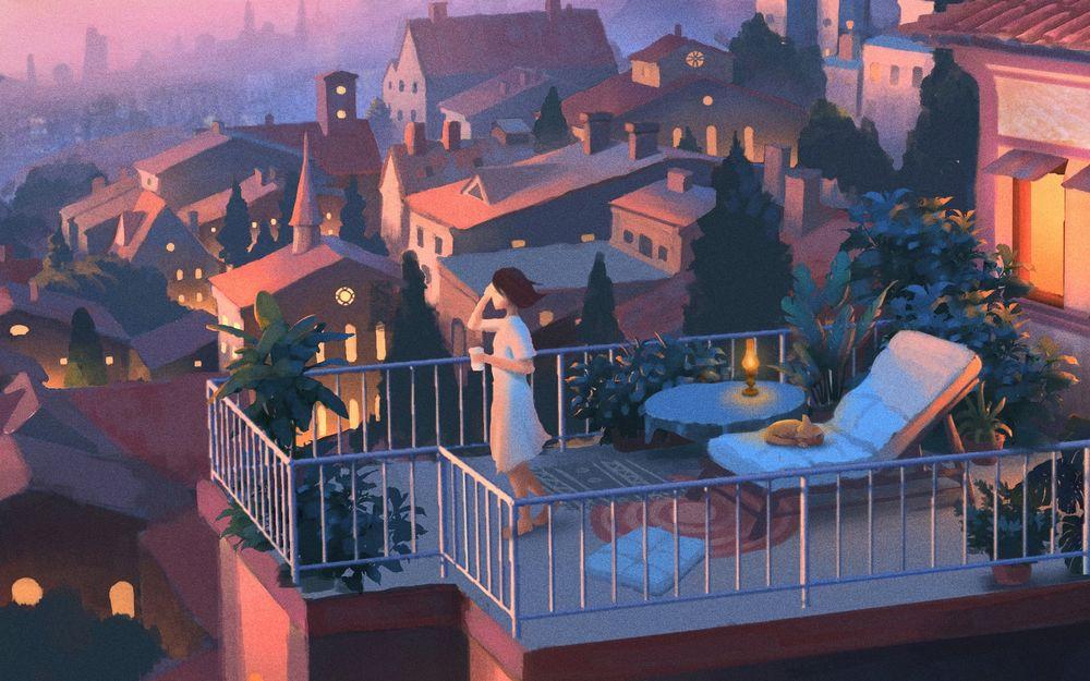 Обои для рабочего стола Девушка с кружкой в руках стоит на балконе, art by huang siyao