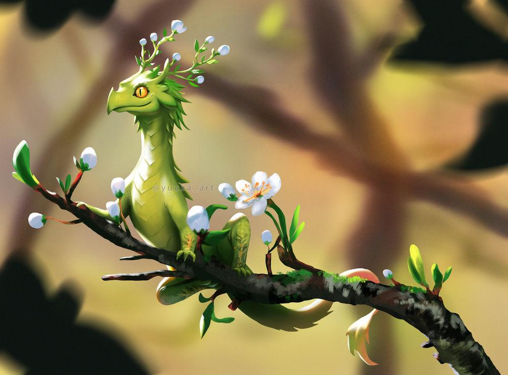 Обои для рабочего стола Зеленый дракончик с цветочками на цветущей веточке, by Yuuza