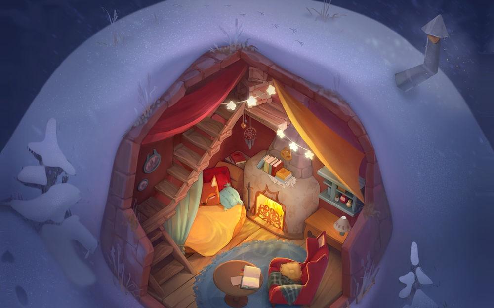 Обои для рабочего стола Уютная комнатушка в сугробе, art by Ulyana Konichenkova