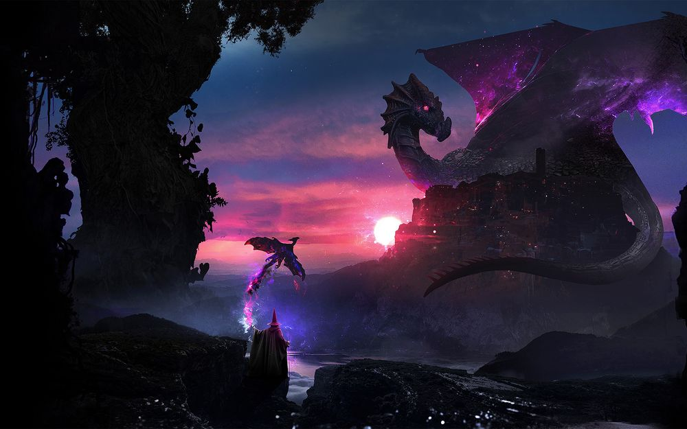 Обои для рабочего стола Маг отпускает волшебную птицу на сражение с драконом, напавшим на город, art by Martina Stipan