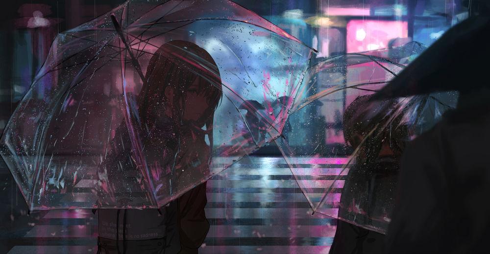 Обои для рабочего стола Люди стоят на переходе на вечерней улице города под дождем, by catzz