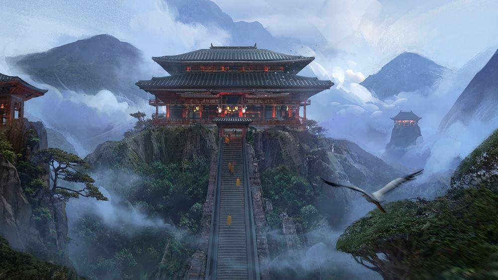 Обои для рабочего стола Паломники поднимаются по высокой лестнице к китайскому храму на вершине горы среди тумана, by Alex Ichim