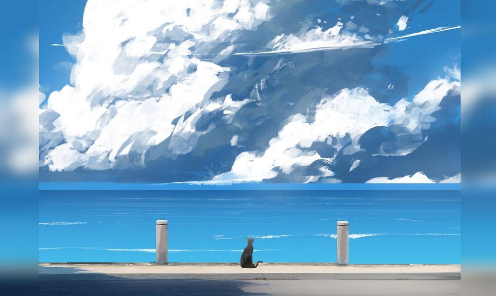 Обои для рабочего стола Кошка сидит на фоне моря под огромным облаком