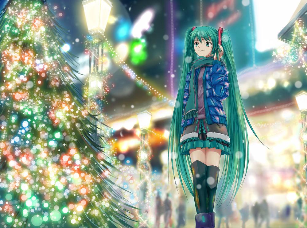 Обои для рабочего стола Vocaloid Hatsune Miku / Вокалоид Хацуне Мику на улице украшенной перед Новым Годом