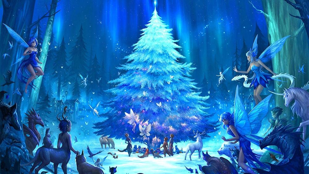 Обои для рабочего стола Волшебные существа и жители леса собрались вместе перед самой красивой елью и ждут наступления Нового Года