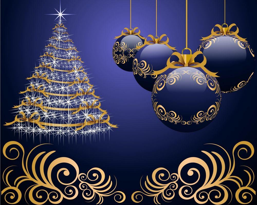 Открытка новогодняя елка с шаром