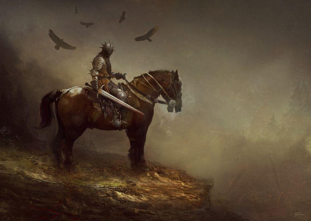 Обои для рабочего стола Рыцарь крови на коне, by Bastien Lecouffe Deharme