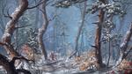 Обои Человек с луком стоит в зимнем лесу, by ReFiend