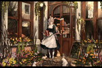 Обои Девушка с лейкой стоит на пороге дома, где сидят кролики