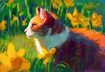 Обои Кошка сидит на поляне нарциссов, by Meorow