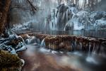 Обои Замерзшие водопады в лесу, by Robert Didierjean