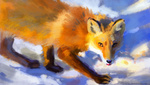 Обои Осторожно идущая по снегу лиса, by Meorow