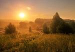 Обои Природа, окутанная туманом, на восходе солнца, фотограф Екатерина