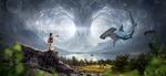 Обои Чародейка творит волшбу на скалах у озера, рыба-молот парит в небе, by Stefan Keller