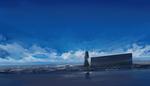Обои Девушка стоит на крыше здания и смотрит в небо