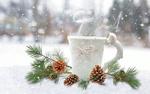 Обои Чашка с горячим напитком и шишки на снегу