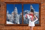 Обои Девушка в наряде снеговика у окна с зимним лесом за стеклом, by Tumisu