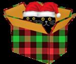Обои Котята в шапочках Санта Клауса, сидящие в коробке, векторная графика, by 6563351