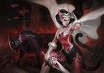 Обои Принцесса She-Ra / Catra / Катра с мифической пантерой в броне, из мультсериала She-Ra: Princess of Power, by Simon Eckert