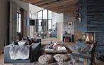 Обои Интересный современный интерьер квартиры-студии
