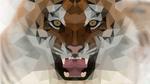 Обои Геометрический тигр с открытой пастью, by DavidFigueira