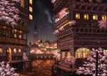 Обои Цветущая весенняя ночь в городе