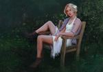Обои Девушка сидит в саду, by Aliena85