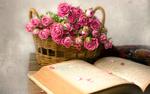 Обои Корзина с розовыми розами и открытая книга