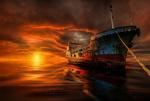 Обои Старый корабль на фоне заката, фотограф Manuel Roger