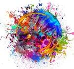 Обои Разноцветная абстракция в виде шара бабочек и птиц