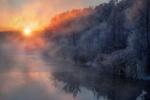 Обои Декабрьский рассвет-зима пришла на Шатурские озера. Фотограф Андрей Чиж