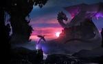 Обои Маг отпускает волшебную птицу на сражение с драконом, напавшим на город, art by Martina Stipan