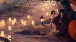 Обои Yato / Ято и Nora сидят под деревом у реки мимо проплывают горящие фонарики из аниме Noragami / Бездомный бог