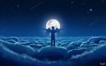 Обои Мужчина - ангел стоит на облаках, расправив крылья и раскинув руки в стороны, перед полной луной, art by Rico De Zoysa