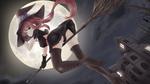 Обои Моника / Monika из визуальной новеллы Doki Doki Literature Club! изображена ведьмой на метле, автор Bilibala