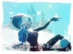 Обои Девушка в шапочке сидит на снегу и на руке у нее волшебный чудик, by V4lii