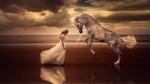Обои Девушка в длинном белом платье стоит перед лошадью, вставшей на дыбы. Фотограф Carlos Rania